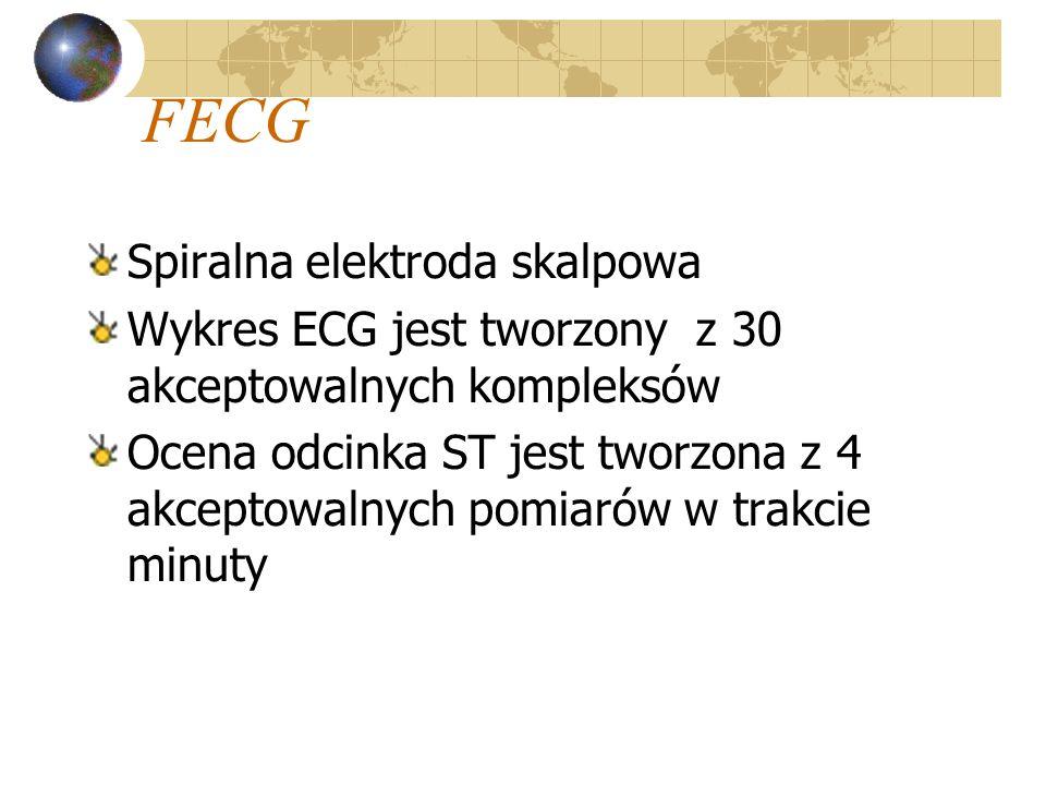 FECG Spiralna elektroda skalpowa Wykres ECG jest tworzony z 30 akceptowalnych kompleksów Ocena odcinka ST jest tworzona z 4 akceptowalnych pomiarów w