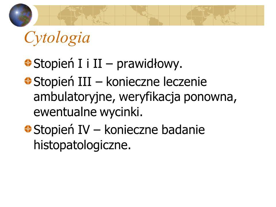 Cytologia Stopień I i II – prawidłowy. Stopień III – konieczne leczenie ambulatoryjne, weryfikacja ponowna, ewentualne wycinki. Stopień IV – konieczne
