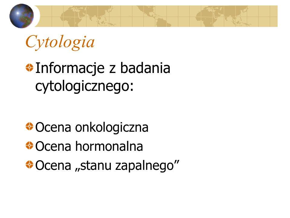 Cytologia Informacje z badania cytologicznego: Ocena onkologiczna Ocena hormonalna Ocena stanu zapalnego