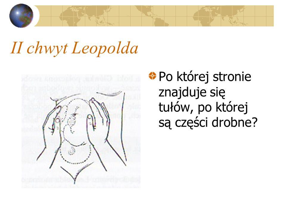 II chwyt Leopolda Po której stronie znajduje się tułów, po której są części drobne?