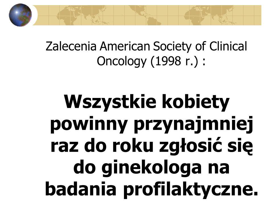 Zalecenia American Society of Clinical Oncology (1998 r.) : Wszystkie kobiety powinny przynajmniej raz do roku zgłosić się do ginekologa na badania pr