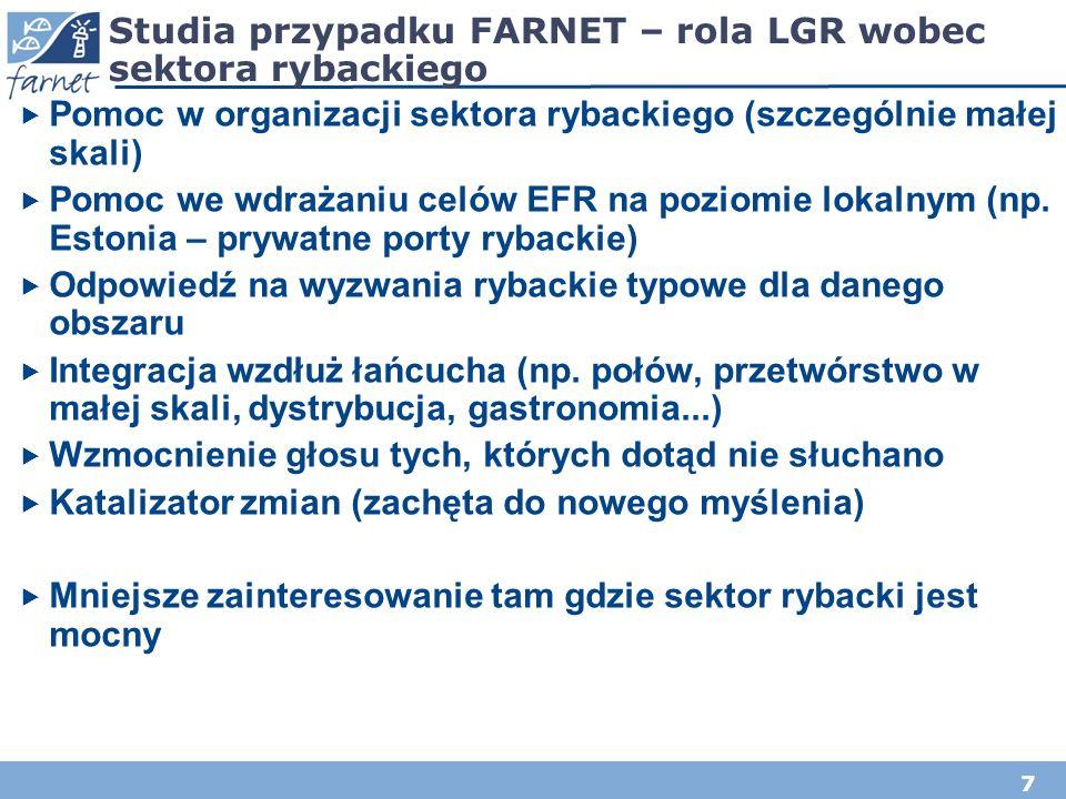 7 Studia przypadku FARNET – rola LGR wobec sektora rybackiego Pomoc w organizacji sektora rybackiego (szczególnie małej skali) Pomoc we wdrażaniu celó