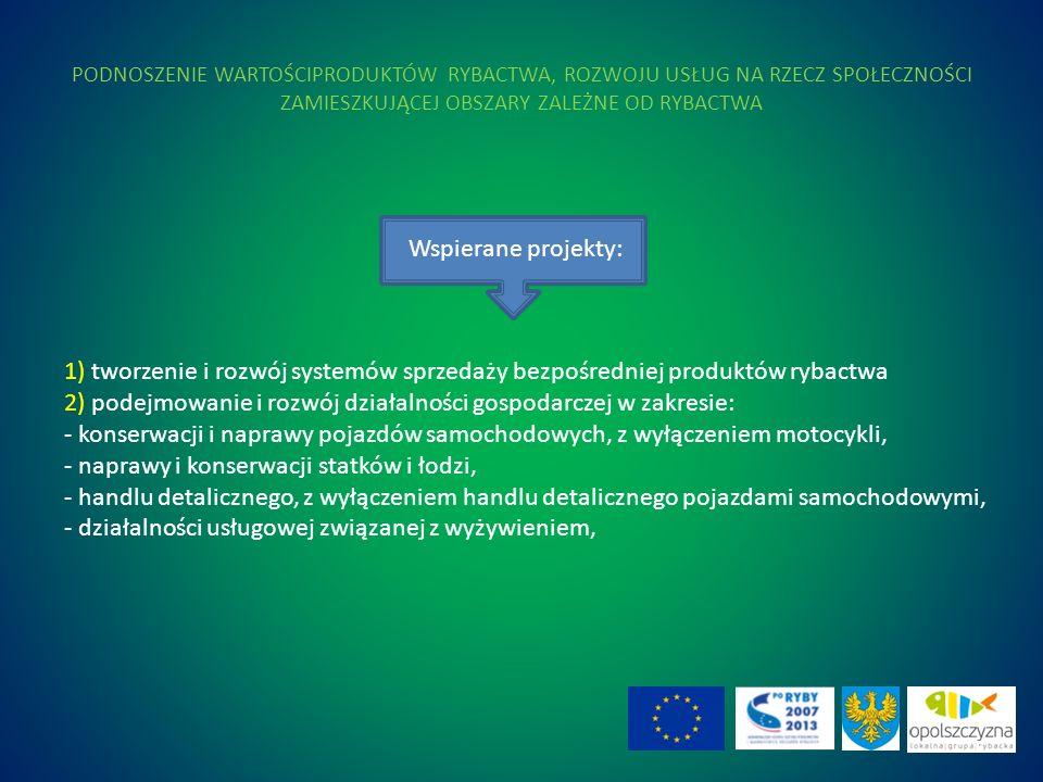 PODNOSZENIE WARTOŚCIPRODUKTÓW RYBACTWA, ROZWOJU USŁUG NA RZECZ SPOŁECZNOŚCI ZAMIESZKUJĄCEJ OBSZARY ZALEŻNE OD RYBACTWA 1) tworzenie i rozwój systemów sprzedaży bezpośredniej produktów rybactwa 2) podejmowanie i rozwój działalności gospodarczej w zakresie: - konserwacji i naprawy pojazdów samochodowych, z wyłączeniem motocykli, - naprawy i konserwacji statków i łodzi, - handlu detalicznego, z wyłączeniem handlu detalicznego pojazdami samochodowymi, - działalności usługowej związanej z wyżywieniem, Wspierane projekty: 25