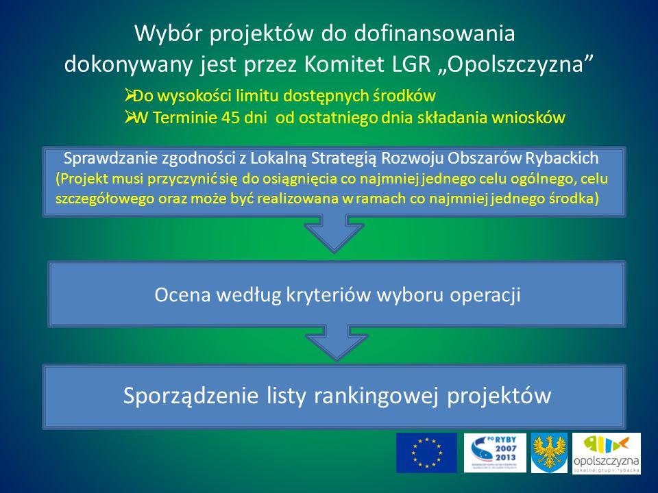 Ocena według kryteriów wyboru operacji Wybór projektów do dofinansowania dokonywany jest przez Komitet LGR Opolszczyzna Do wysokości limitu dostępnych środków W Terminie 45 dni od ostatniego dnia składania wniosków Sprawdzanie zgodności z Lokalną Strategią Rozwoju Obszarów Rybackich (Projekt musi przyczynić się do osiągnięcia co najmniej jednego celu ogólnego, celu szczegółowego oraz może być realizowana w ramach co najmniej jednego środka) Sporządzenie listy rankingowej projektów 36
