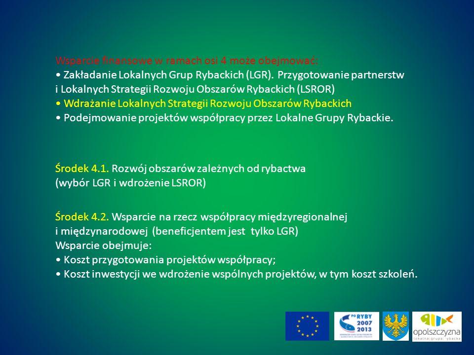 Wsparcie finansowe w ramach osi 4 może obejmować: Zakładanie Lokalnych Grup Rybackich (LGR).