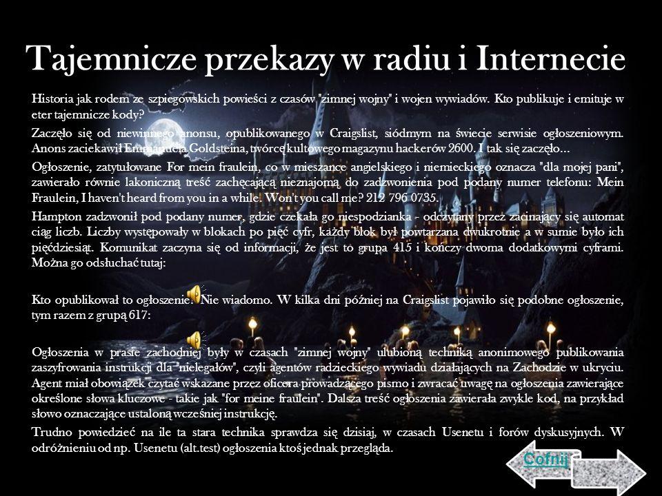 Tajemnicze przekazy w radiu i Internecie Historia jak rodem ze szpiegowskich powie ś ci z czasów zimnej wojny i wojen wywiadów.