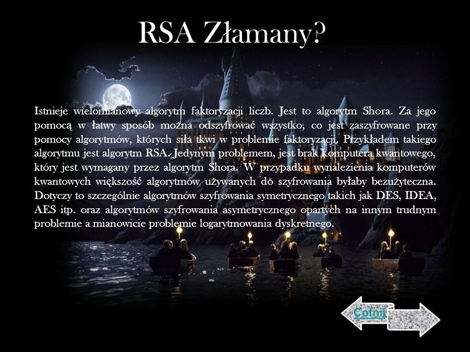 RSA Z ł amany.Istnieje wielomianowy algorytm faktoryzacji liczb.