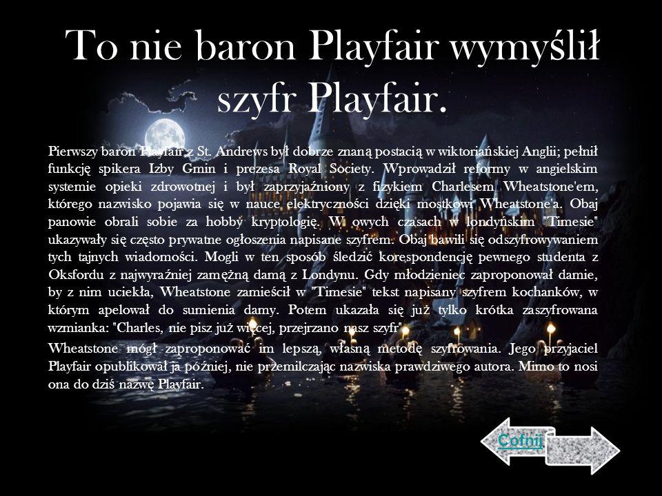 To nie baron Playfair wymy ś li ł szyfr Playfair.Pierwszy baron Playfair z St.