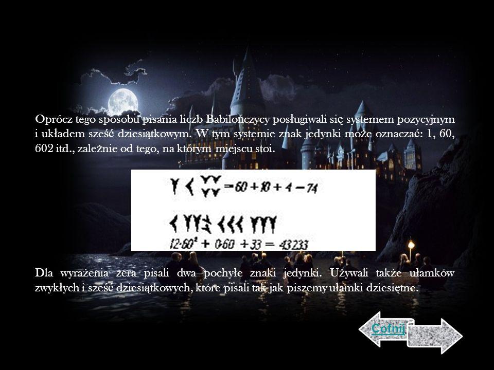 Oprócz tego sposobu pisania liczb Babilo ń czycy pos ł ugiwali si ę systemem pozycyjnym i uk ł adem sze ść dziesi ą tkowym.
