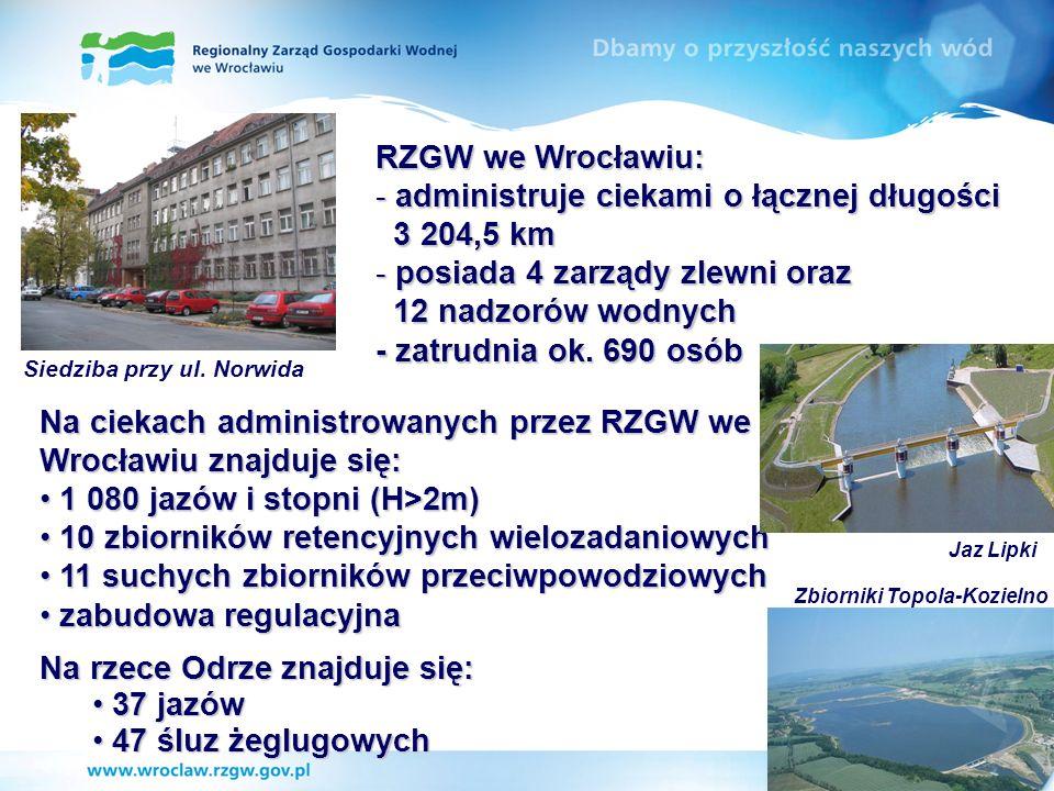 RZGW we Wrocławiu: - administruje ciekami o łącznej długości 3 204,5 km 3 204,5 km - posiada 4 zarządy zlewni oraz 12 nadzorów wodnych 12 nadzorów wod