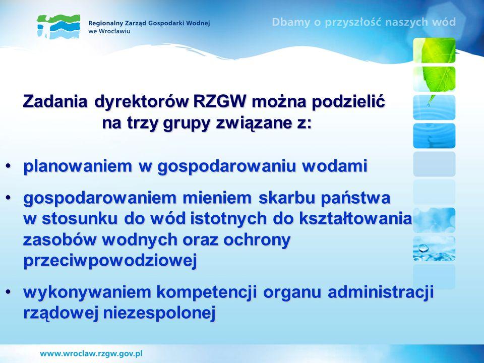 Zadania dyrektorów RZGW można podzielić na trzy grupy związane z: planowaniem w gospodarowaniu wodamiplanowaniem w gospodarowaniu wodami gospodarowani