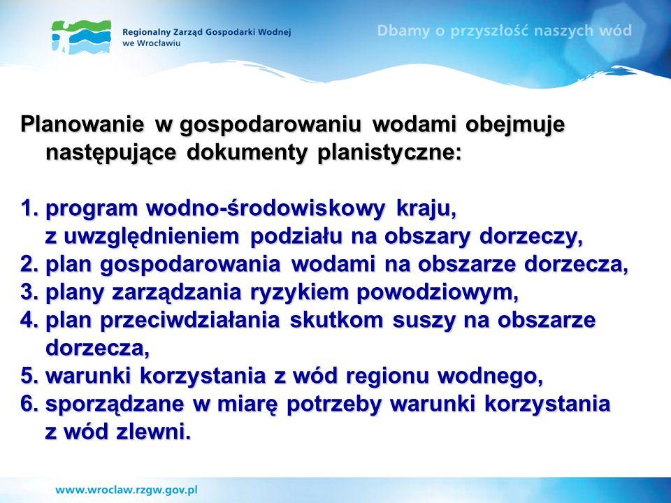 Planowanie w gospodarowaniu wodami obejmuje następujące dokumenty planistyczne: 1.program wodno-środowiskowy kraju, z uwzględnieniem podziału na obsza