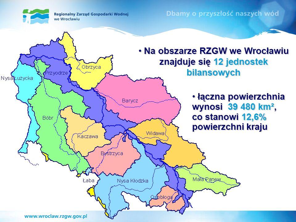 Na obszarze RZGW we Wrocławiu znajduje się 12 jednostek bilansowych Na obszarze RZGW we Wrocławiu znajduje się 12 jednostek bilansowych łączna powierz