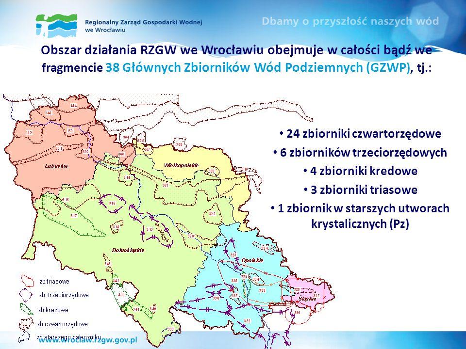 Obszar działania RZGW we Wrocławiu obejmuje w całości bądź we fragmencie 38 Głównych Zbiorników Wód Podziemnych (GZWP ), tj.: 24 zbiorniki czwartorzęd