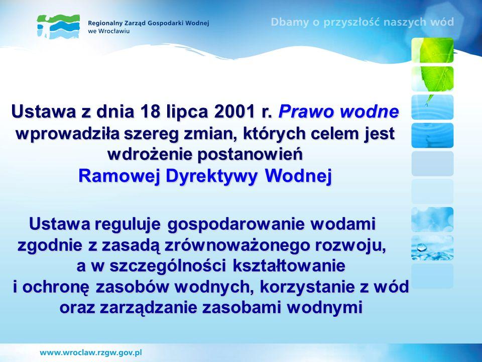 Ustawa z dnia 18 lipca 2001 r. Prawo wodne wprowadziła szereg zmian, których celem jest wdrożenie postanowień Ramowej Dyrektywy Wodnej Ustawa reguluje
