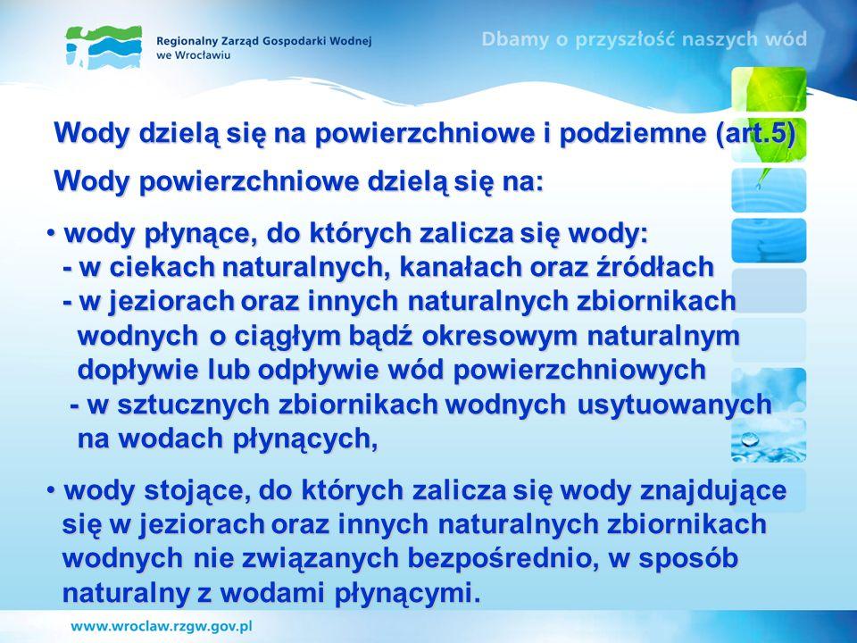 Wody dzielą się na powierzchniowe i podziemne (art.5) Wody dzielą się na powierzchniowe i podziemne (art.5) Wody powierzchniowe dzielą się na: Wody po