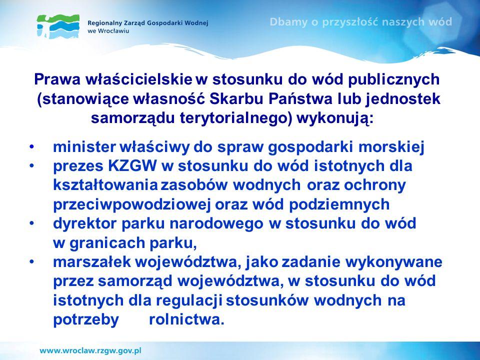 Prawa właścicielskie w stosunku do wód publicznych (stanowiące własność Skarbu Państwa lub jednostek samorządu terytorialnego) wykonują: minister właś