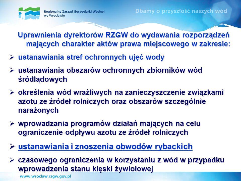 Uprawnienia dyrektorów RZGW do wydawania rozporządzeń mających charakter aktów prawa miejscowego w zakresie: ustanawiania stref ochronnych ujęć wody u