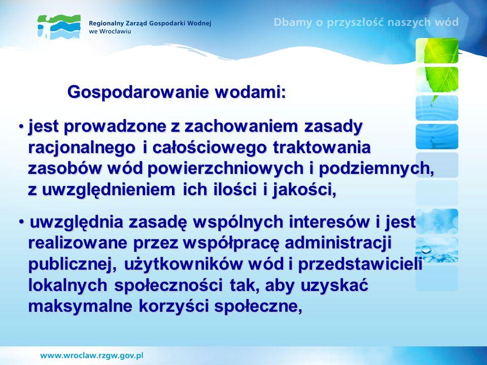 RZGW we Wrocławiu: - administruje ciekami o łącznej długości 3 204,5 km 3 204,5 km - posiada 4 zarządy zlewni oraz 12 nadzorów wodnych 12 nadzorów wodnych - zatrudnia ok.