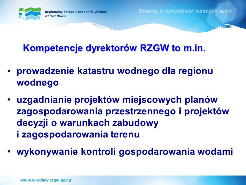 prowadzenie katastru wodnego dla regionu wodnego uzgadnianie projektów miejscowych planów zagospodarowania przestrzennego i projektów decyzji o warunk