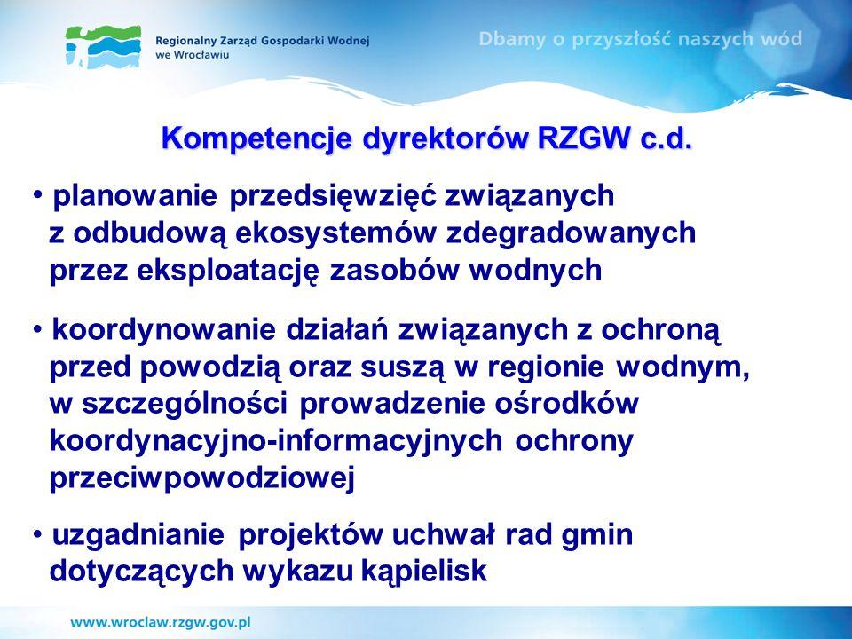 Kompetencje dyrektorów RZGW c.d. planowanie przedsięwzięć związanych z odbudową ekosystemów zdegradowanych przez eksploatację zasobów wodnych koordyno