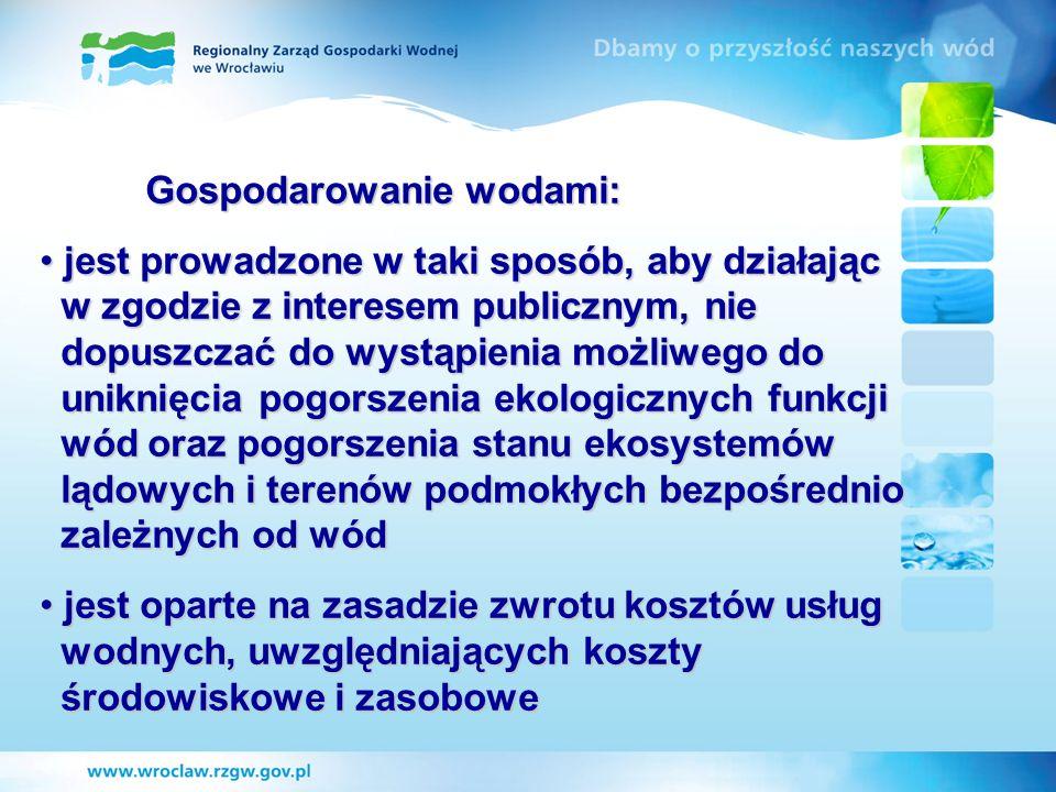 Gospodarowanie wodami: jest prowadzone w taki sposób, aby działając w zgodzie z interesem publicznym, nie dopuszczać do wystąpienia możliwego do unikn