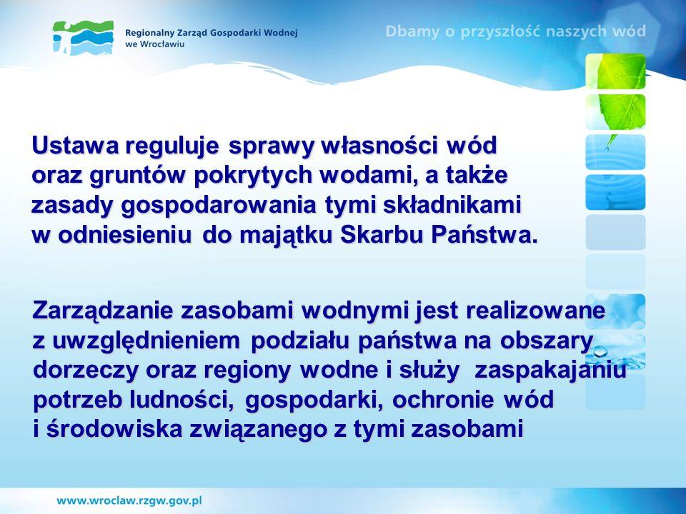 Zarządzanie zasobami wodnymi jest realizowane z uwzględnieniem podziału państwa na obszary dorzeczy oraz regiony wodne i służy zaspakajaniu potrzeb lu