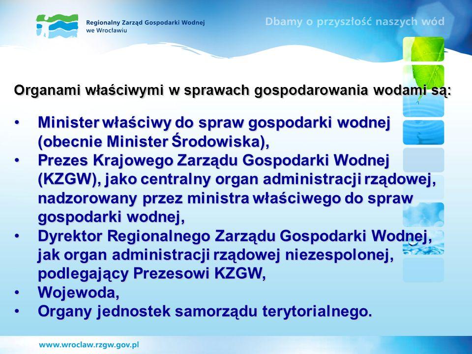 Organami właściwymi w sprawach gospodarowania wodami są: Minister właściwy do spraw gospodarki wodnej (obecnie Minister Środowiska),Minister właściwy