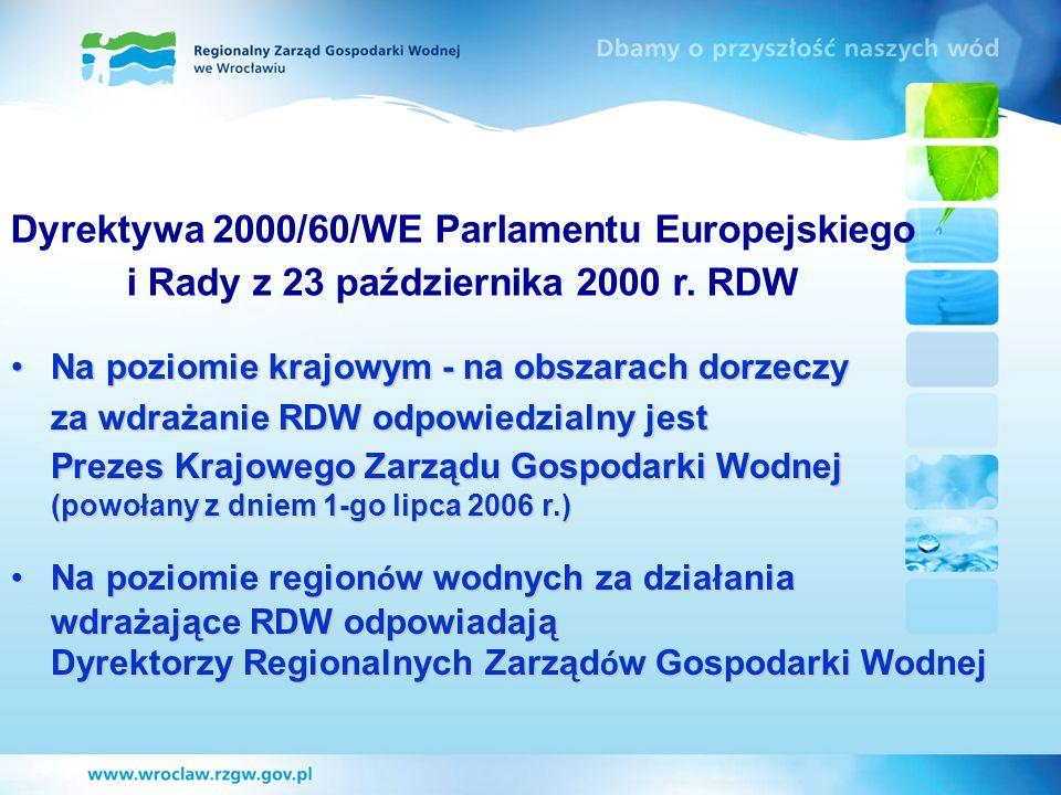 Dyrektywa 2000/60/WE Parlamentu Europejskiego i Rady z 23 października 2000 r. RDW Na poziomie krajowym - na obszarach dorzeczyNa poziomie krajowym -