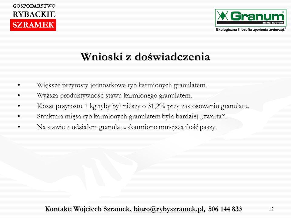 12 Wnioski z doświadczenia Większe przyrosty jednostkowe ryb karmionych granulatem.Większe przyrosty jednostkowe ryb karmionych granulatem. Wyższa pro