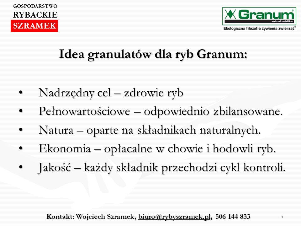 5 Idea granulatów dla ryb Granum: Nadrzędny cel – zdrowie rybNadrzędny cel – zdrowie ryb Pełnowartościowe – odpowiednio zbilansowane.Pełnowartościowe