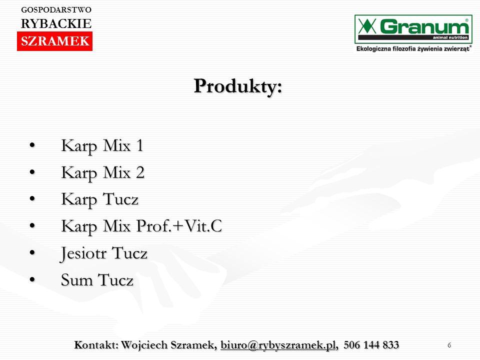 6 Produkty: Karp Mix 1Karp Mix 1 Karp Mix 2Karp Mix 2 Karp TuczKarp Tucz Karp Mix Prof.+Vit.CKarp Mix Prof.+Vit.C Jesiotr TuczJesiotr Tucz Sum TuczSum