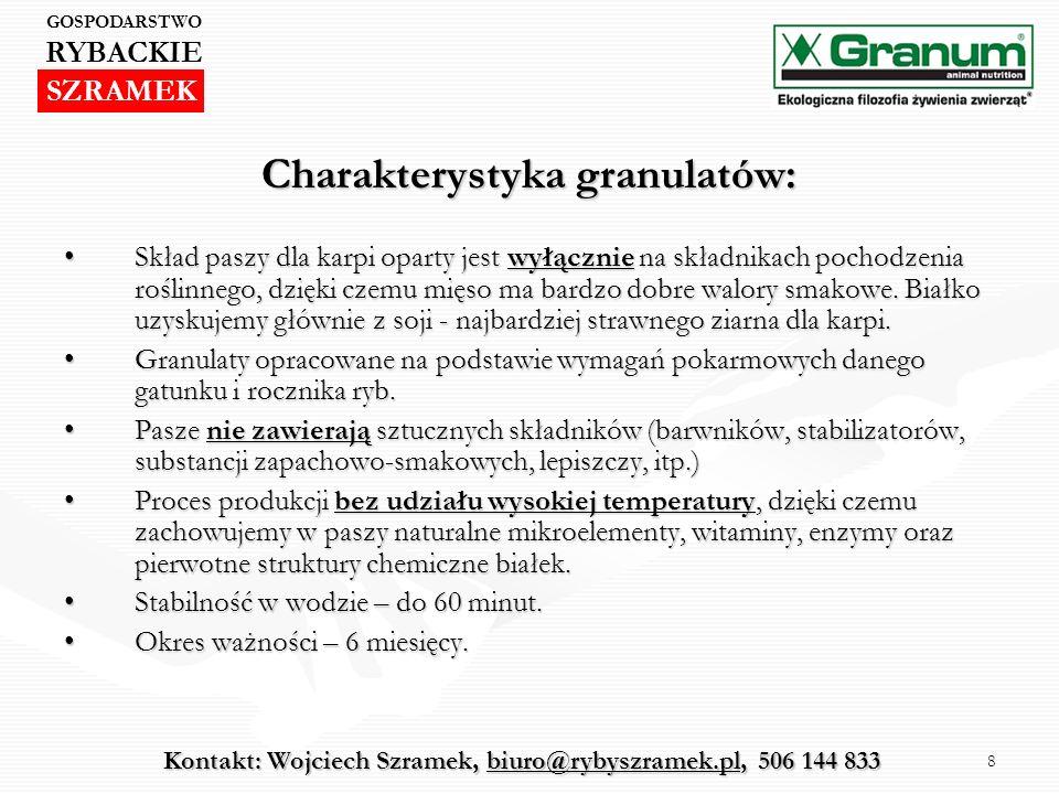 8 Charakterystyka granulatów: Skład paszy dla karpi oparty jest wyłącznie na składnikach pochodzenia roślinnego, dzięki czemu mięso ma bardzo dobre wa