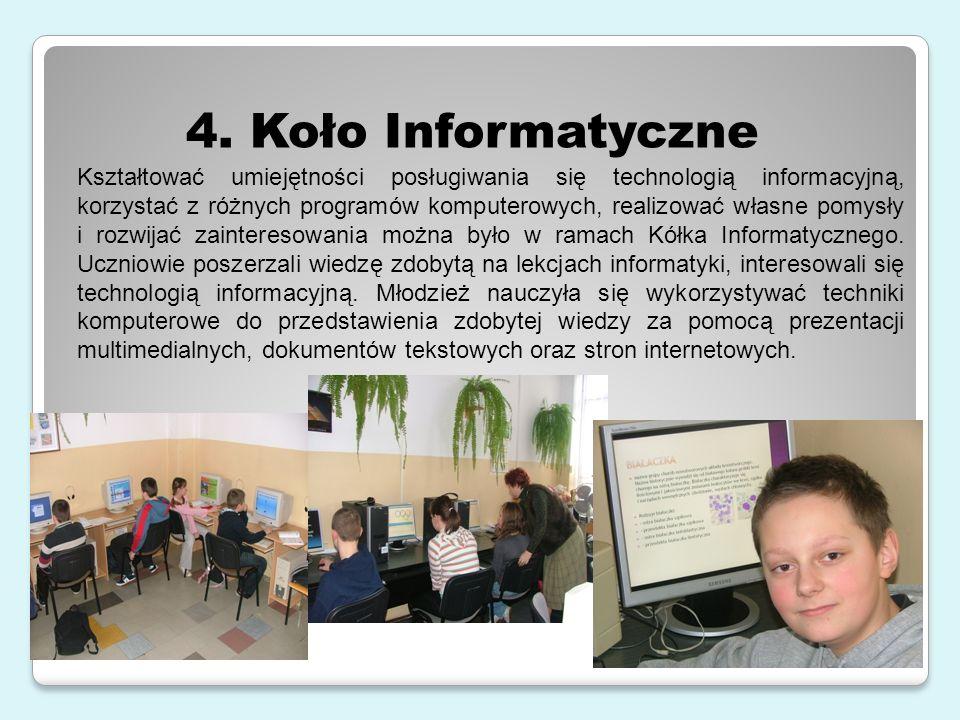 Kształtować umiejętności posługiwania się technologią informacyjną, korzystać z różnych programów komputerowych, realizować własne pomysły i rozwijać zainteresowania można było w ramach Kółka Informatycznego.