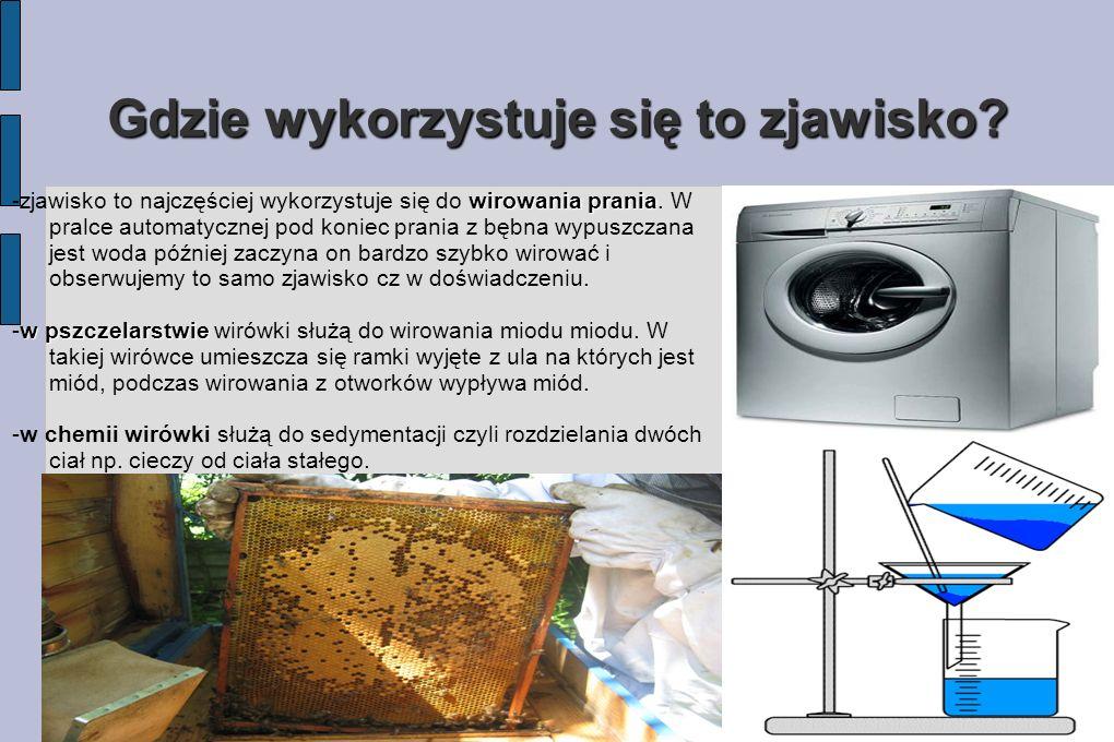 Gdzie wykorzystuje się to zjawisko? wirowania prania -zjawisko to najczęściej wykorzystuje się do wirowania prania. W pralce automatycznej pod koniec