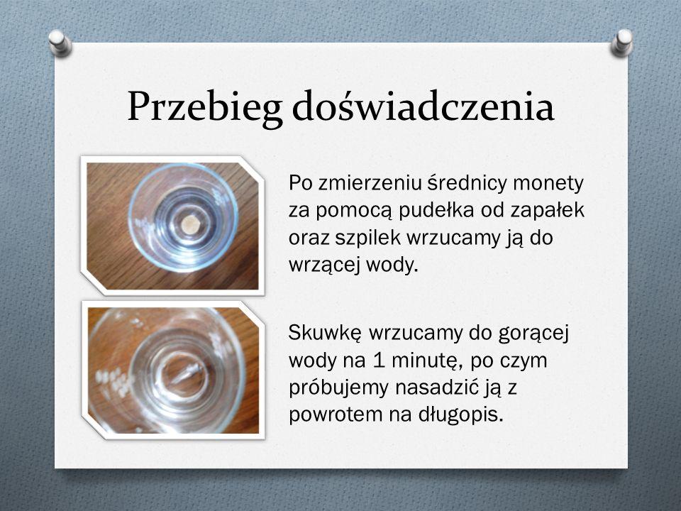 Obserwacje: Moneta nie przecisnęła się pomiędzy szpilkami, okazała się większa niż przed zamoczeniem jej w gorącej wodzie.