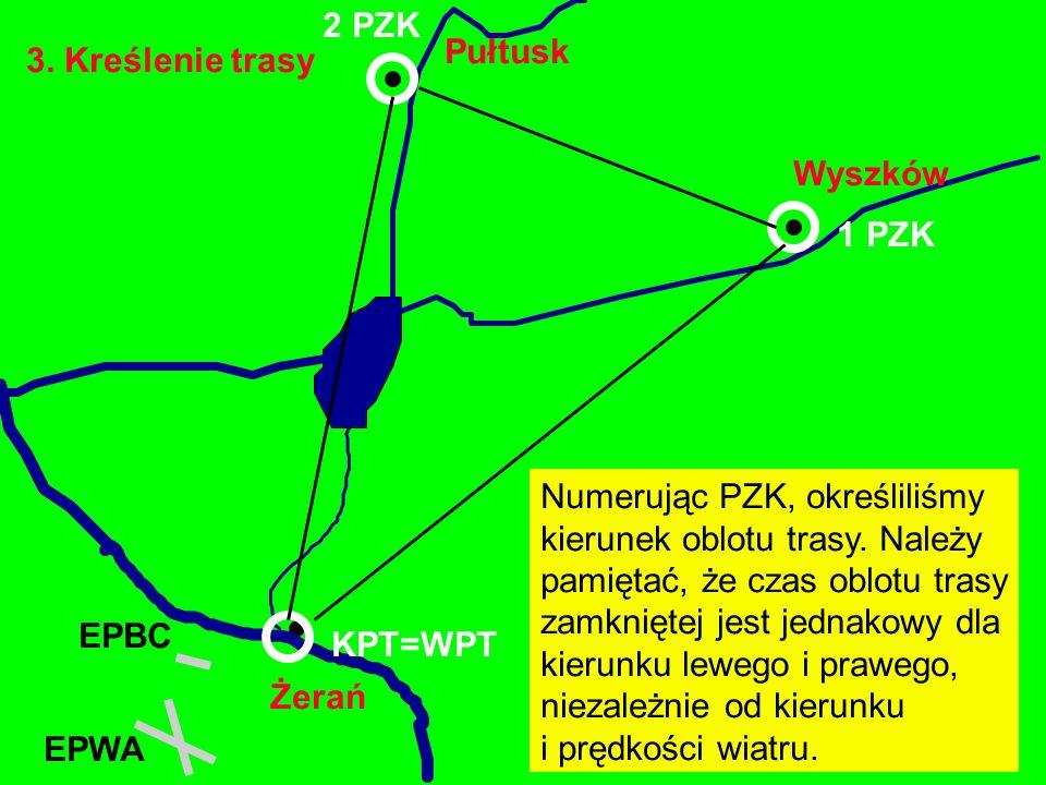 3. Kreślenie trasy Żerań EPBC Wyszków Pułtusk EPWA 1 PZK Numerując PZK, określiliśmy kierunek oblotu trasy. Należy pamiętać, że czas oblotu trasy zamk