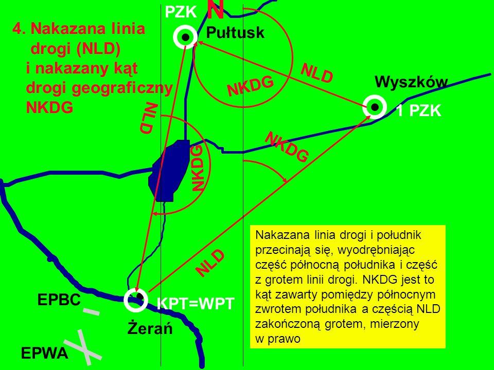 4. Nakazana linia drogi (NLD) i nakazany kąt drogi geograficzny NKDG Żerań EPBC Wyszków EPWA 1 PZK Nakazana linia drogi i południk przecinają się, wyo