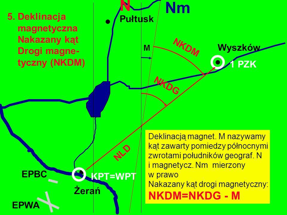 5. Deklinacja magnetyczna Nakazany kąt Drogi magne- tyczny (NKDM) Żerań EPBC Wyszków EPWA 1 PZK Deklinacją magnet. M nazywamy kąt zawarty pomiedzy pół