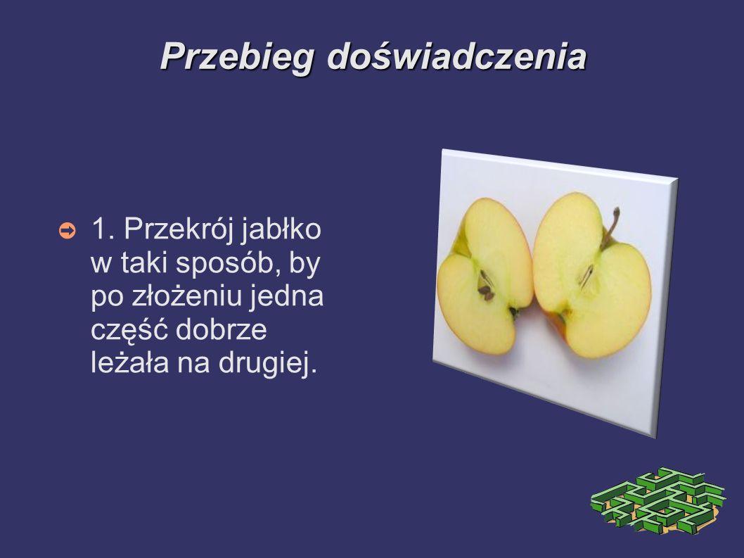 Przebiegdoświadczenia Przebieg doświadczenia 1. Przekrój jabłko w taki sposób, by po złożeniu jedna część dobrze leżała na drugiej.