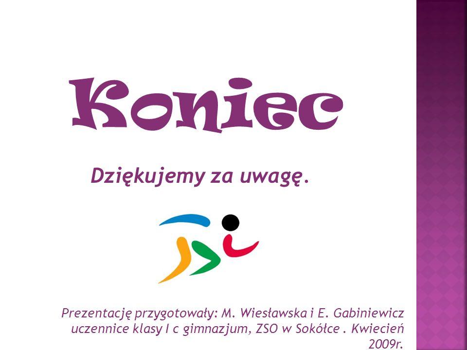 Koniec Dziękujemy za uwagę. Prezentację przygotowały: M. Wiesławska i E. Gabiniewicz uczennice klasy I c gimnazjum, ZSO w Sokółce. Kwiecień 2009r.