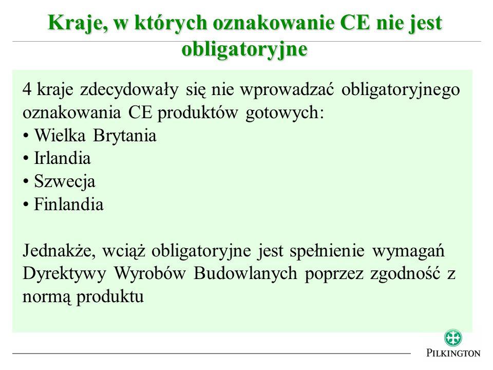 Kraje, w których oznakowanie CE nie jest obligatoryjne 4 kraje zdecydowały się nie wprowadzać obligatoryjnego oznakowania CE produktów gotowych: Wielk