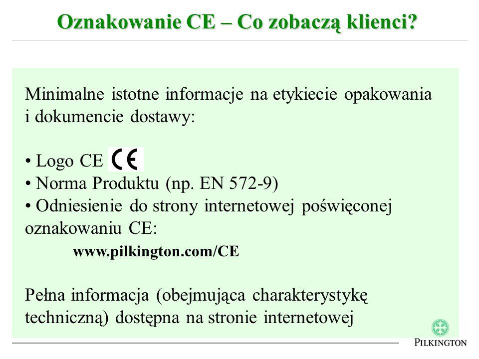 Oznakowanie CE – Co zobaczą klienci? Minimalne istotne informacje na etykiecie opakowania i dokumencie dostawy: Logo CE Norma Produktu (np. EN 572-9)