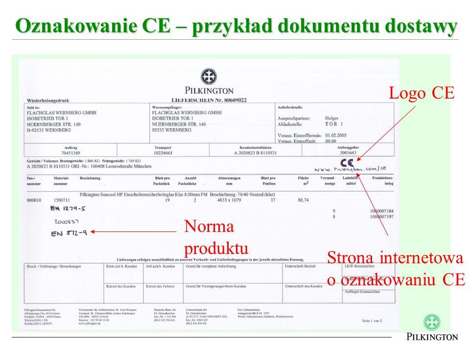 Oznakowanie CE – przykład dokumentu dostawy Logo CE Norma produktu Strona internetowa o oznakowaniu CE