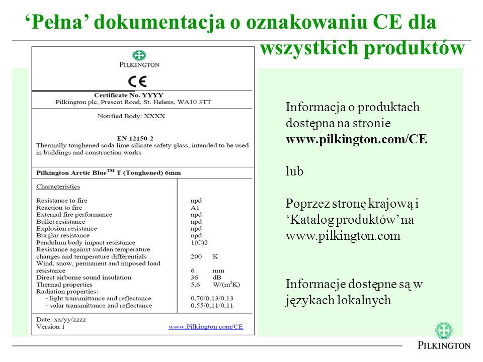 Pełna dokumentacja o oznakowaniu CE dla wszystkich produktów Informacja o produktach dostępna na stronie www.pilkington.com/CE lub Poprzez stronę kraj