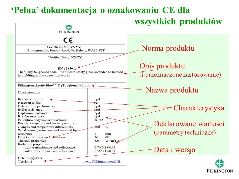 Pełna dokumentacja o oznakowaniu CE dla wszystkich produktów Norma produktu Opis produktu (i przeznaczone zastosowanie) Nazwa produktu Charakterystyka
