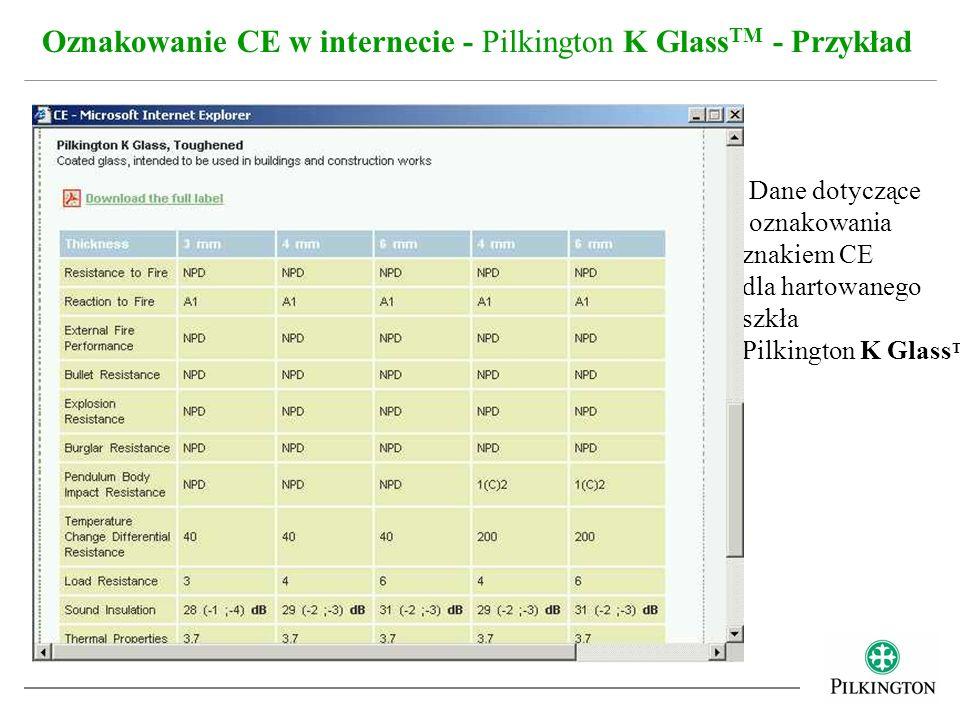 Oznakowanie CE w internecie - Pilkington K Glass TM - Przykład Dane dotyczące oznakowania znakiem CE dla hartowanego szkła Pilkington K Glass TM