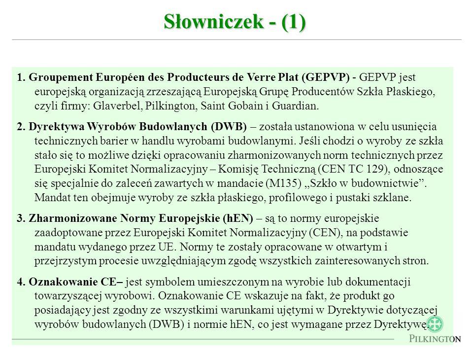 1. Groupement Européen des Producteurs de Verre Plat (GEPVP) - GEPVP jest europejską organizacją zrzeszającą Europejską Grupę Producentów Szkła Płaski