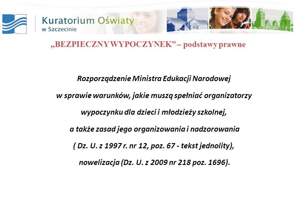 BEZPIECZNY WYPOCZYNEK – podstawy prawne Rozporządzenie Ministra Edukacji Narodowej w sprawie warunków, jakie muszą spełniać organizatorzy wypoczynku d