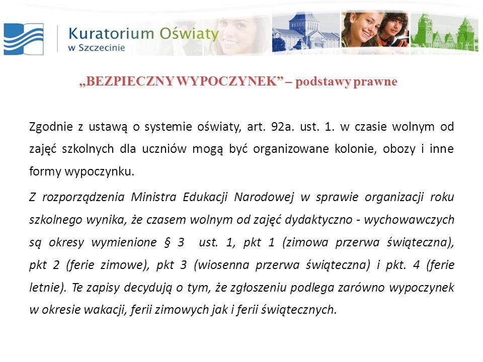 BEZPIECZNY WYPOCZYNEK Przydatne strony: Elektroniczna baza wypoczynku dzieci i młodzieży Ministerstwa Edukacji Narodowej - http://wypoczynek.men.gov.pl/ Informacja Ministerstwa Edukacji Narodowej dla rodziców i opiekunów wysyłających dzieci na letni wypoczynek - http://www.men.gov.pl/index.php?option=com_content&view=article&id=584%3...